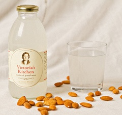 Victoria's Kitchen Almond Water, created from a recipe by the founder's grandmother, this ready-to-drink, non-alcoholic beverage originated in France. It contains pure cane sugar and no artificial flavors or colors.