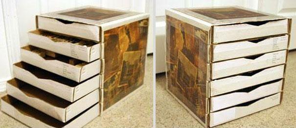 Riciclo scatole di pizza, cassetti.