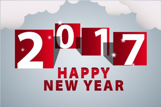 2017 new year template with cloud and red numbers