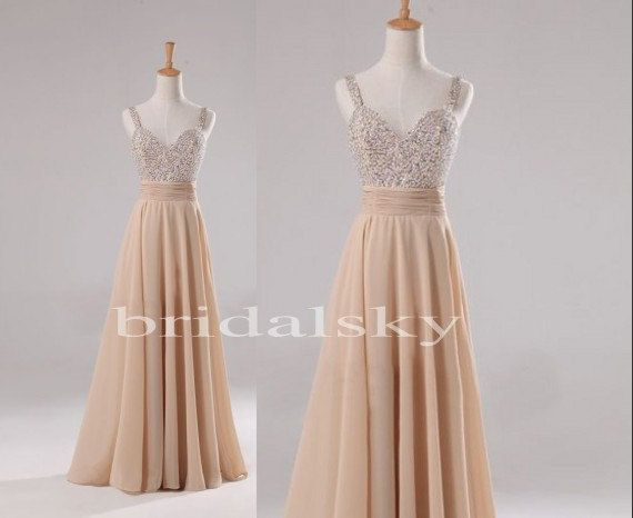 Elegant Champagne Beaded Long Aline Chiffon Bridesmaid Dresses Prom Dresses Formal Party Occasions Wedding Events 2014
