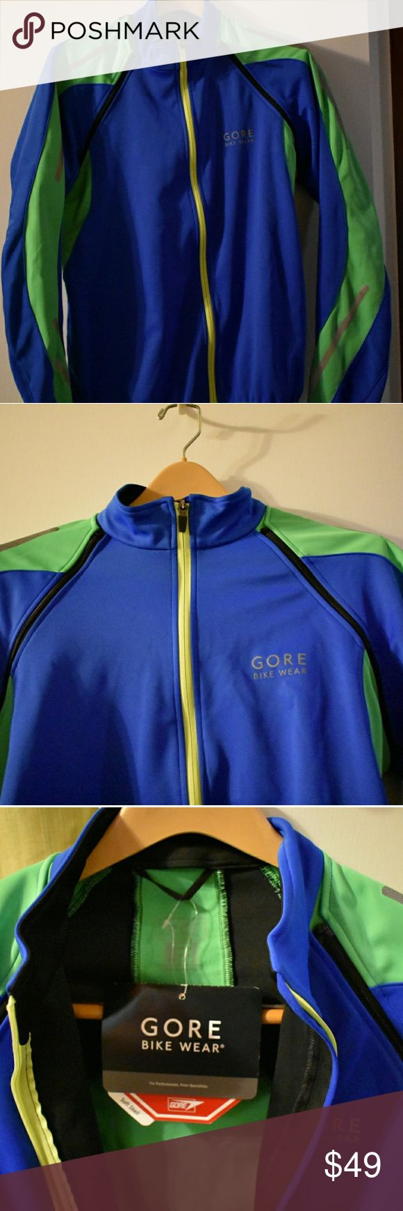 NWT MENS Gore Cycling Shirt/Jacket US size Medium. New with tags. Windstopper technology. Zip up. Convertible sleeves from long can zip off to short sleeves. Multiple reflective application. Very nice three pocket in back. Safety yellow piping on blue and green performance cycling jacket. Ask questions about this one! GORE bikewear Jackets & Coats Performance Jackets