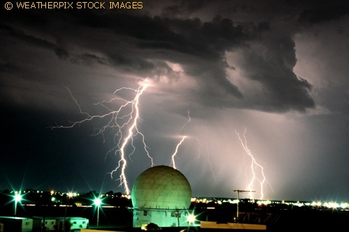 Cloud-to-ground lightning with old Norman doppler research radar at NSSL in Norman Oklahoma on September 1st, 1989.