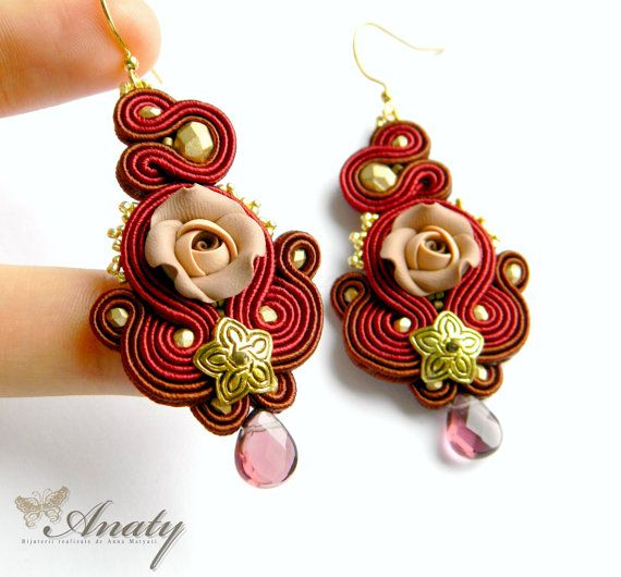 Dark red statement earrings Art jewelry Polymer by anatydesign