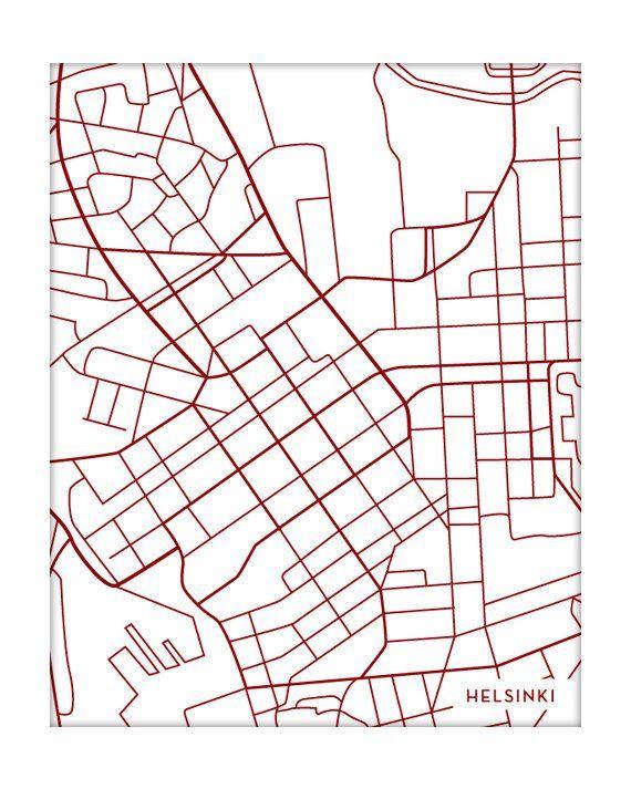 Helsinki City Map Poster / Finland Map Print Moder…