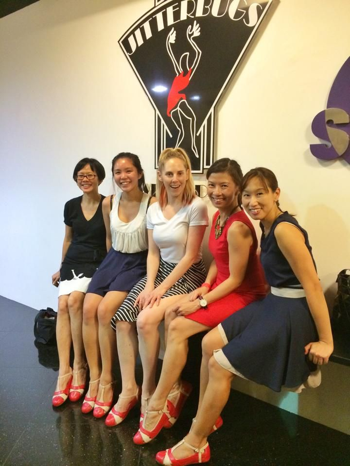 Ladies at Swingapore Jitterbugs - owner Sing Lim, Sam of Charlie Stone, Jo Hoffberg, Pamela Tham and Alexandra Lau