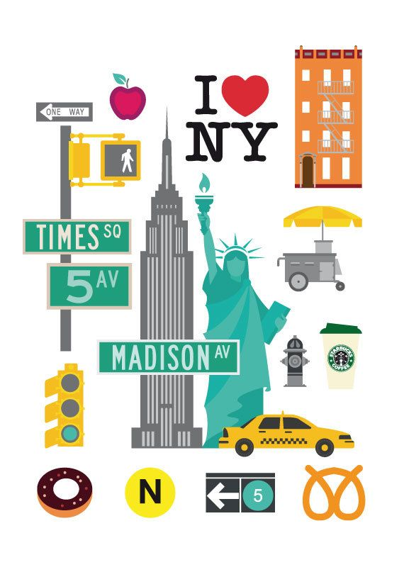 New York print NYC art print map New York City by ShufflePrints