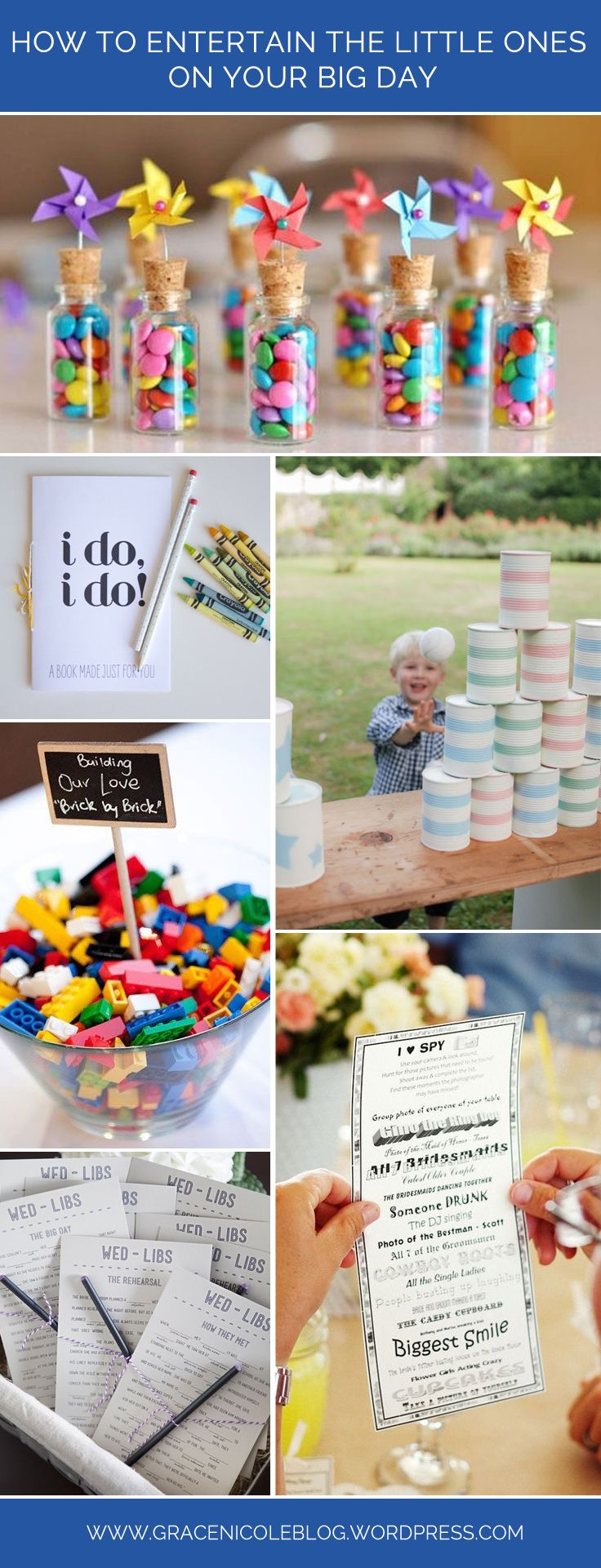 How to Entertain the little ones on your big day. A guide to keeping children happy on your wedding day. Activities, games, booklets and sweets to keep the kids smiling all day long!   Check out the blog for more wedding inspiration at www.gracenicoleblog.wordpress.com
