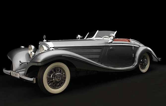 """This is the 1937 Mercedes-Benz 540K Special Roadster. It was Mercedes' flagship vehicle, and no expense was spared. It perfectly represents the art deco styling of its era, and with a supercharged engine (the """"K"""" stands for """"kompressor""""), it was as powerful as it was sleek. Even a car as old as a 1937 Mercedes can look thoroughly fresh if it's designed right, and everything about this car was done right."""