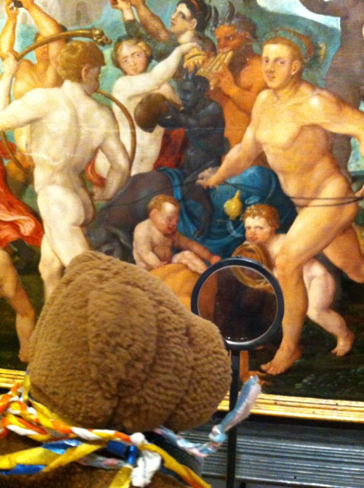 Friedeltje visiting the exhibition 'I spy with my little eye', at the Frans Hals musem in Haarlem. He especially loves the close up of someone's backside, 16th century humor.