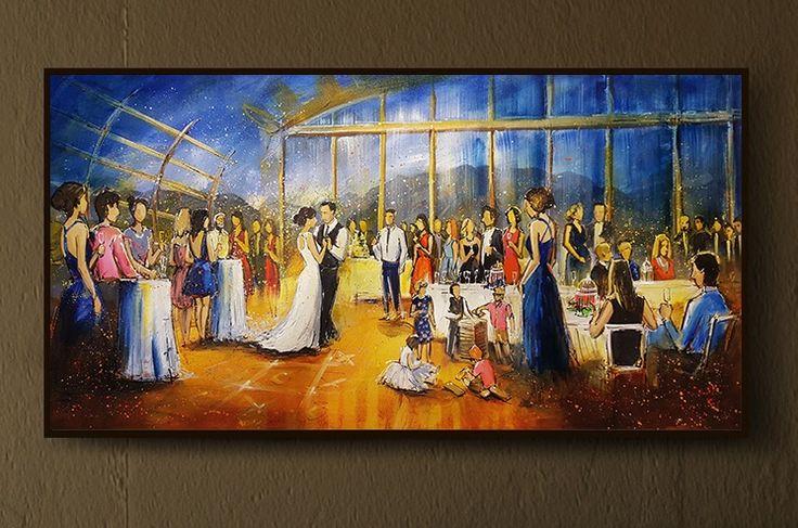 UBC Boathouse Vancouver wedding painting on wall.