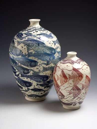 Ceramics by Tiffany Scull at Studiopottery.co.uk - 2011. Blue fish and red fish vases. 22cm. and 14cm. sgraffito