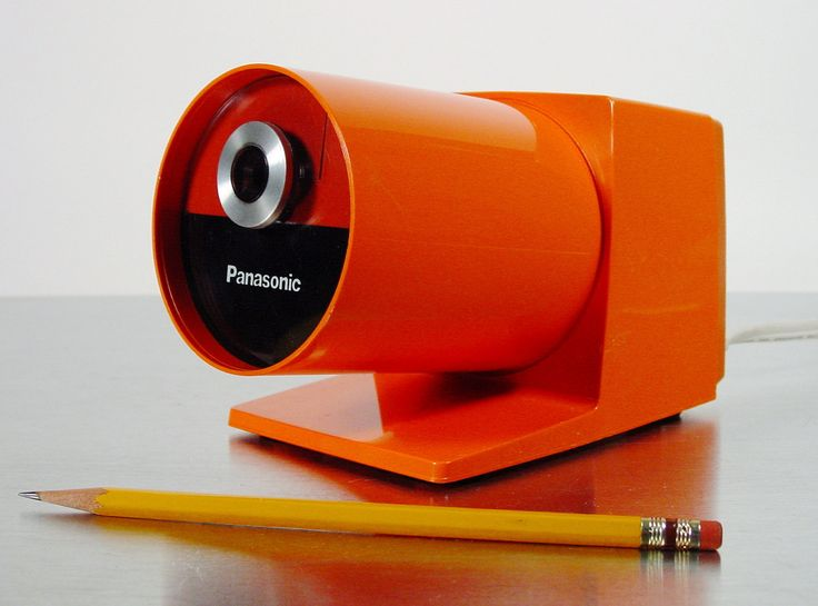 Midcentury Modern Orange Electric Pencil Sharpener by Panasonic, model KP-22A Pana-Point Pencil Sharpener from Panasonic, 1970s.. $115.00, via Etsy.