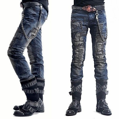 Blue Personalized Alternative Punk Emo Fashion Jeans Men Clothes Wholesale