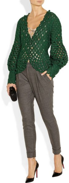 Oscar De La Renta Crochet/ Knit Silk Cardigan        ♪ ♪ ... #inspiration_crochet #diy GB http://www.pinterest.com/gigibrazil/boards/