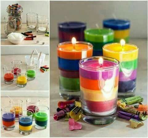Candle of crayons