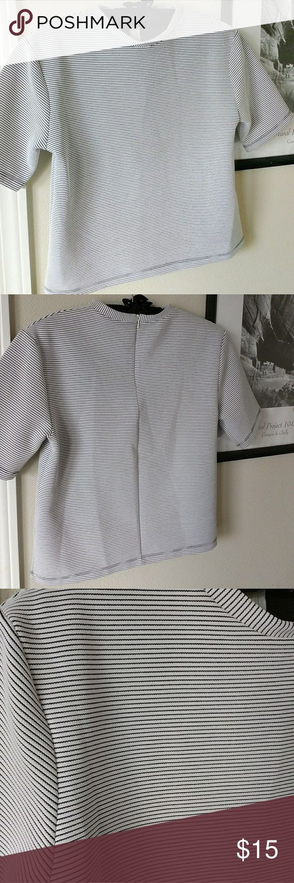 🌼Topshop Crop Top Short Sleeve w/ Zipper Chic crop top by Topshop. Zipper located on upper backside. Approx length of shirt 20 inches. Topshop Tops Crop Tops