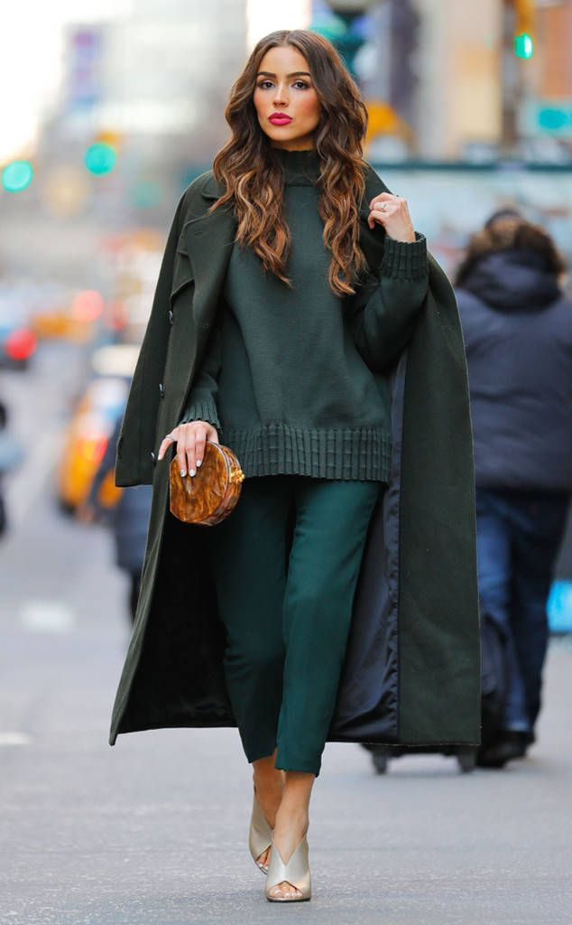 City chic! The gorgeous gal is seen in a monochromatic look on the streets of NYC.