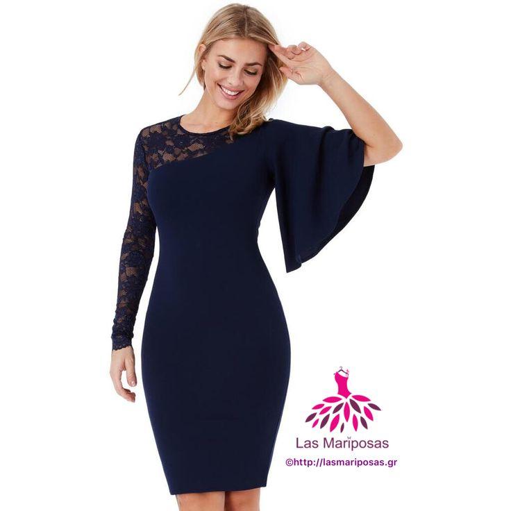 Filio Midi navy φόρεμα με λεπτομέρεια δαντέλα