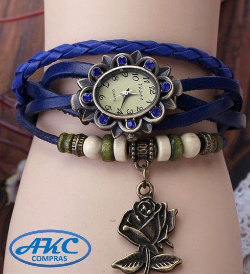 Reloj de mujer Vintaje en forma de Flor con correa de Cuero :: AKC Compras