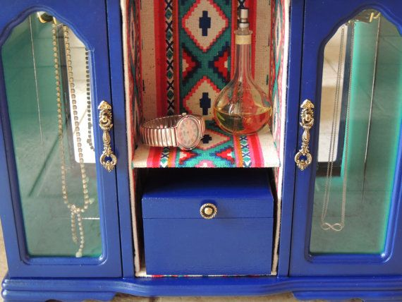 $100. RandomRevamps. 14-3/4 x 13-1/2 x 5-1/2. Large Tribal Jewelry Armoire vintage jewelry box. S.7/10/13. L.6/28/13.