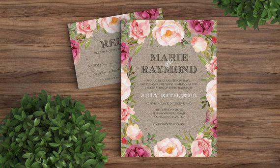 Rustic Modern Wedding Invitation and RSVP by Bejoyfulpaper Floral, garden, pink, green, purple, red, Kraft paper, brown