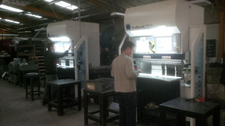 CNC bending small stainless steel sheet metal blanks into angle brackets at V and F Sheet Metal in Fareham, Hampshire http://www.vandf.co.uk/folding-small-sheet-metal-brackets/