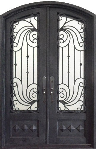 Silver pewter iron front door with wrought iron grille. Hand forged and hand finished.