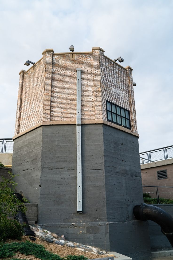 Former pumphouse for the demolished A.L. Cole power plant. The tower part of the building is the oldest (1911) and two additions were made in 1929 and 1954.