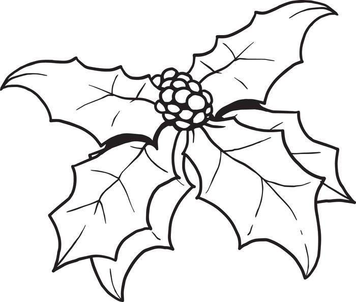 Printable Christmas Holly Coloring Page For Kids Christmas