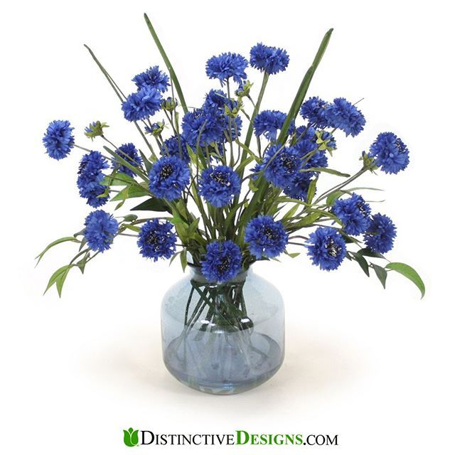 Blue Cornflower In Blue Vase In 2020 Artificial Flower Arrangements Blue Vase Artificial Flowers