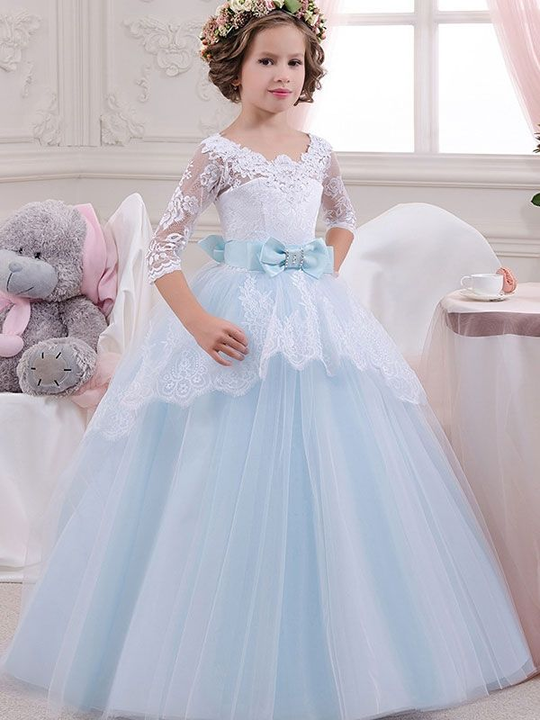 0ccb4619f66 Bow Hollow Out Lace Seven-Tenths Sleeves Long Dress