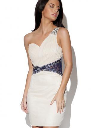 ustrendy, Cream One Shoulder Embellished Dress with Pleated Bust,  Dress, one shoulder  pleated, Chic
