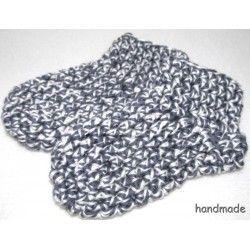 Bambusové dětské ponožky, ručně háčkované, šedosmetanový melír, vel. 0 - 18měs.
