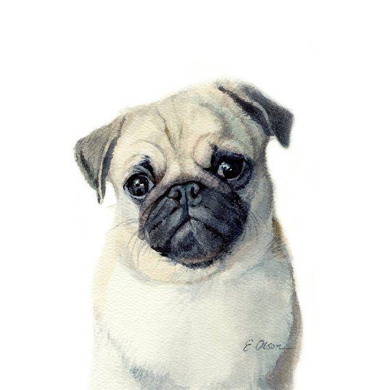 Watercolor Pug Puppy Pug Puppy Art Print Printable Nursery