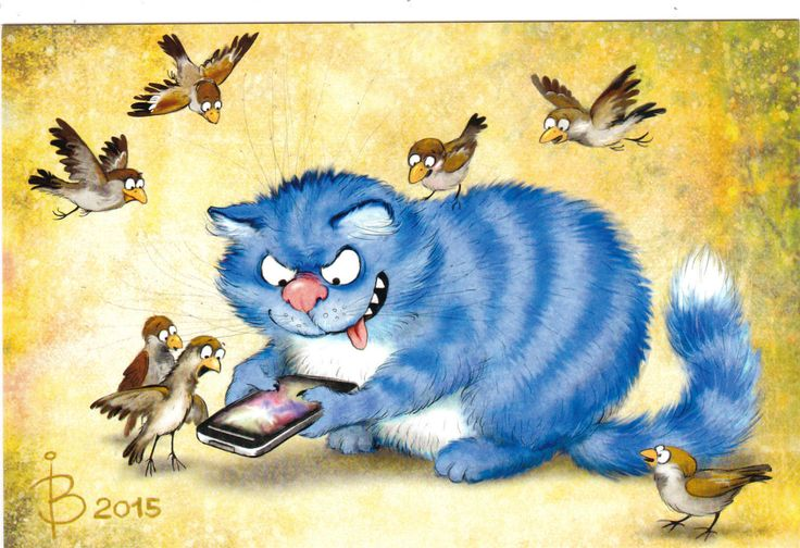 RARE Gamer cat with sparrows by Zenyuk Russian modern postcard | eBay