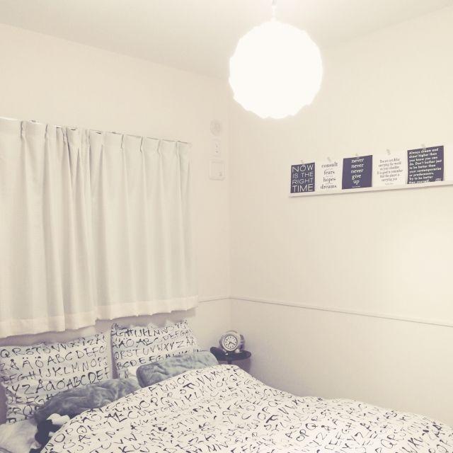 akoさんの、ベッド周り,IKEA,ベッドルーム,布団カバー,白黒,モノトーン,海外のインテリアに憧れる,ニトリ 照明,のお部屋写真