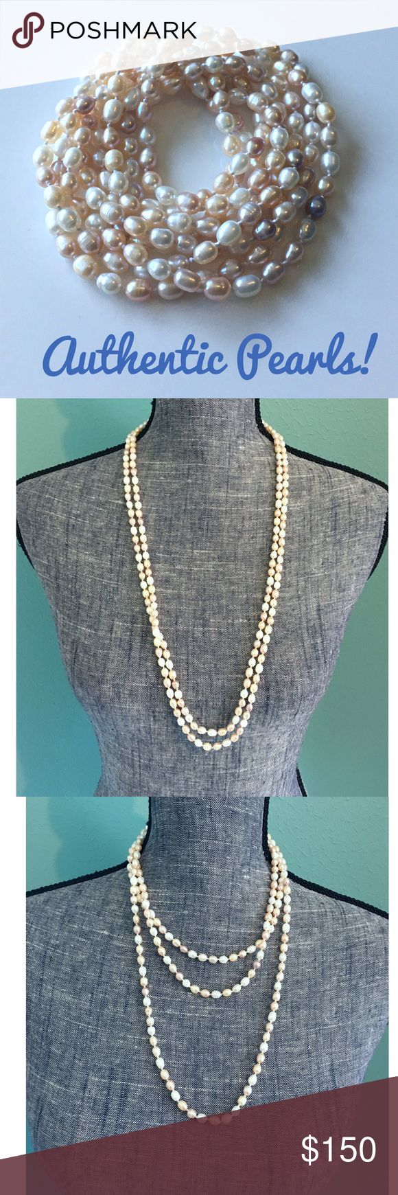 "Pastel Freshwater Cultured Pearl Long Necklace Excellent & gorgeous pastel Cultured Pearls. Super long for flapper look or can be worn multi-strand. 68"" long! Jewelry Necklaces"