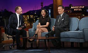 James Corden hosts The Late Late Show in America, with guests Mila Kunis and Tom Hanks  Image credit - www.theguardian.com