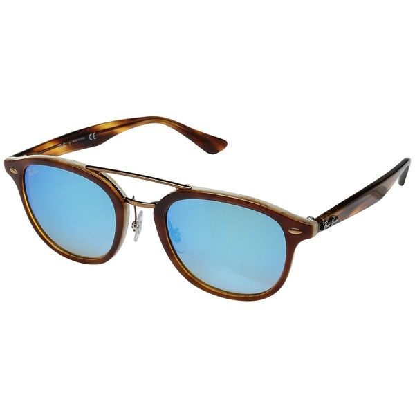 Ray-Ban 0RB2183 53mm (Brown Havana on Horn Beige/Green Gradient Brown... ($195) ❤ liked on Polyvore featuring accessories, eyewear, sunglasses, mirrored sunglasses, ray ban sunglasses, mirror lens sunglasses, clear glasses and acetate sunglasses