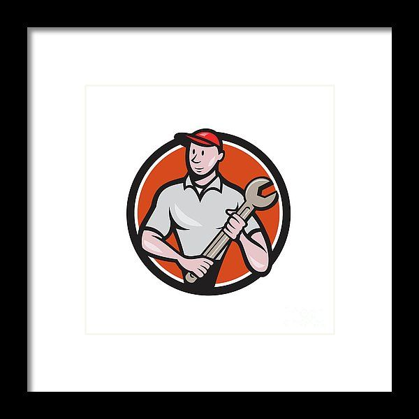 Mechanic Worker Standing Spanner Circle Cartoon Framed Print by Aloysius Patrimonio.   Illustration of a mechanic worker standing looking to the side carrying spanner viewed from front set inside circle on isolated done in cartoon style. #illustration #MechanicWorker