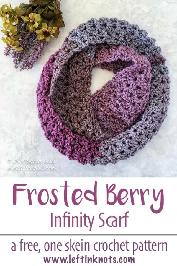 This free crochet pattern is warm enough for winter, but airy and colorful enough for you to at least start thinking about spring!  It takes just one skein of Caron Tea Cakes or approx. 204 yards of your favorite Super Bulky Weight (Category 6) yarn.  I hope you enjoy the Frosted Berry Infinity Scarf #crochet #freecrochetpattern #caroncakes