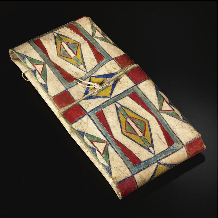 NEZ PERCE PAINTED HIDE PARFLECHE ENVELOPE