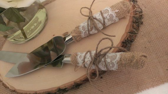 rustic wedding cake cutting country wedding cake knife serving set on Etsy, $28.00