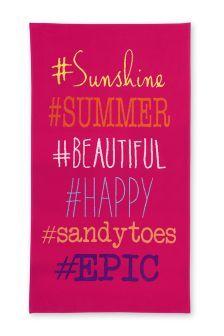 Prosop de plajă Hashtag roz