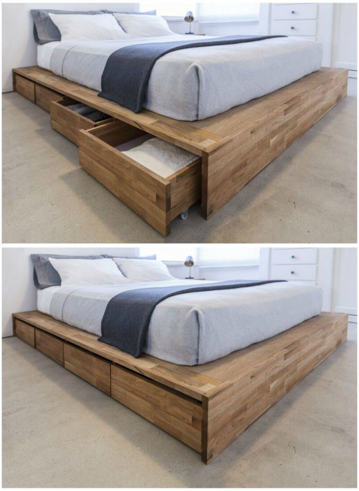 Industrial Reclaimed Wood Platform Storage Bed Diy Platform Bed