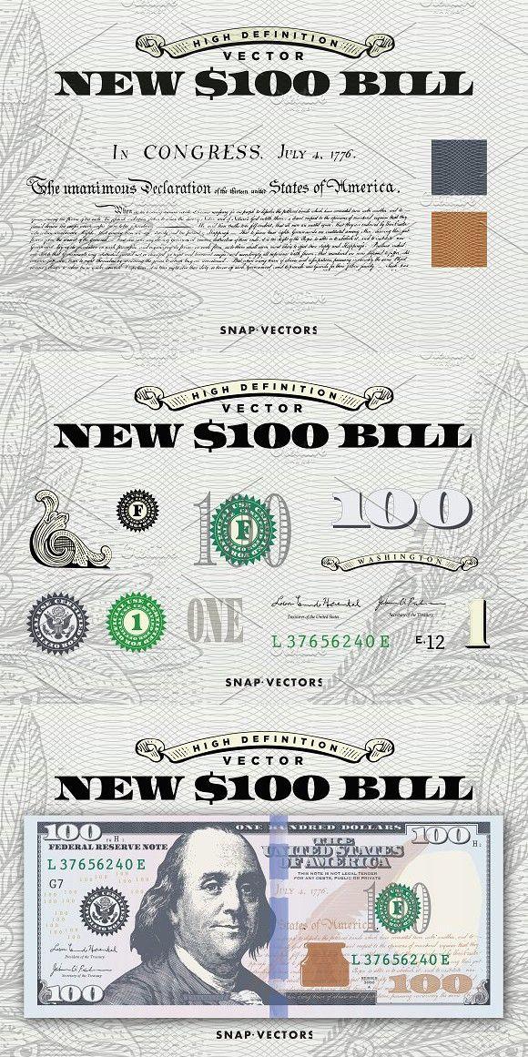Vector New 100 Bill Template Bill Template Money Logo Money Collection