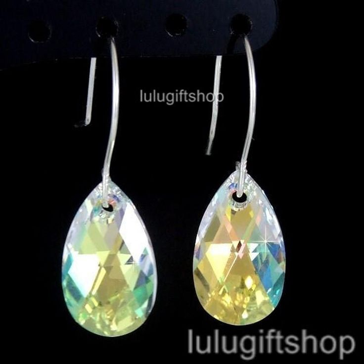 925 Sterling Silver 16Mm Ab Tear Drop 6106 Made With Swarovski Crystal Earrings