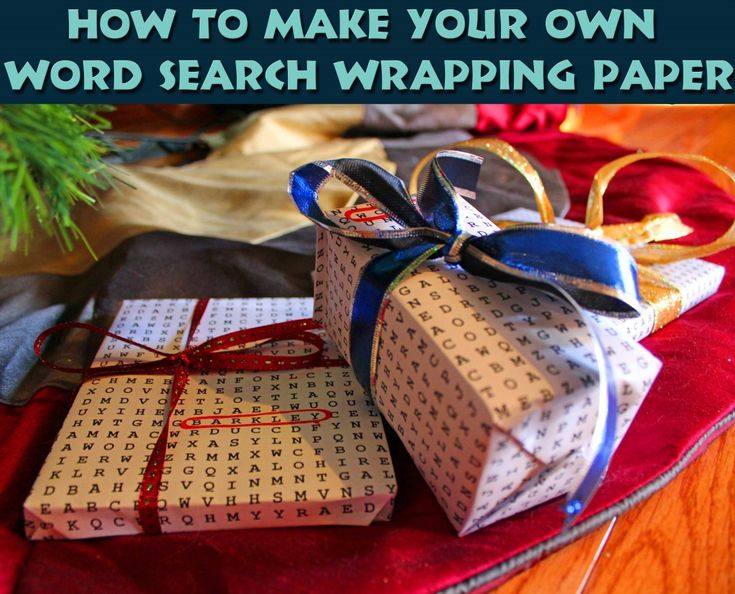 How to DIY Word Search Wrapping Paper with your kids names!  A great way to make customized wrapping paper for your kids, and a fun word search, too!