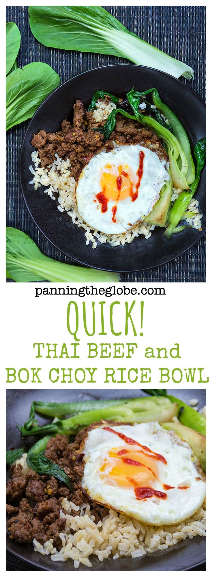 Quick Thai Beef Bok Choy Rice Bowl: the most delicious dish you can make in 20 minutes!