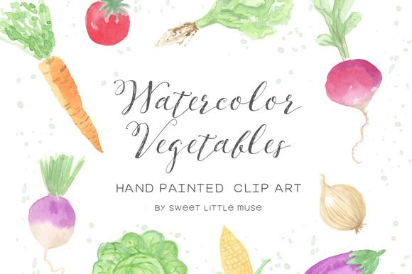 Watercolor Vegetable Clip Art by SweetLittleMuse on @creativemarket
